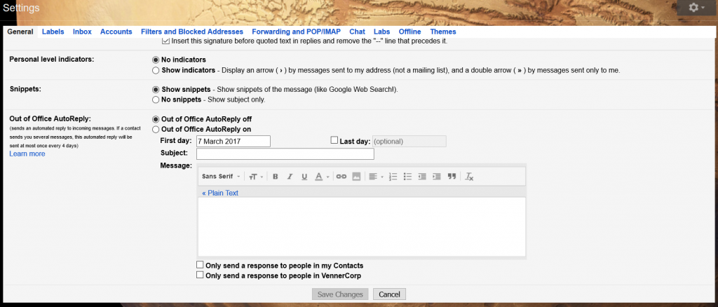Out of Office AutoReply in Gmail